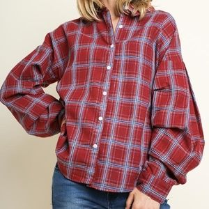 Pintuck Oversized Plaid Button Up Top with a Scoop